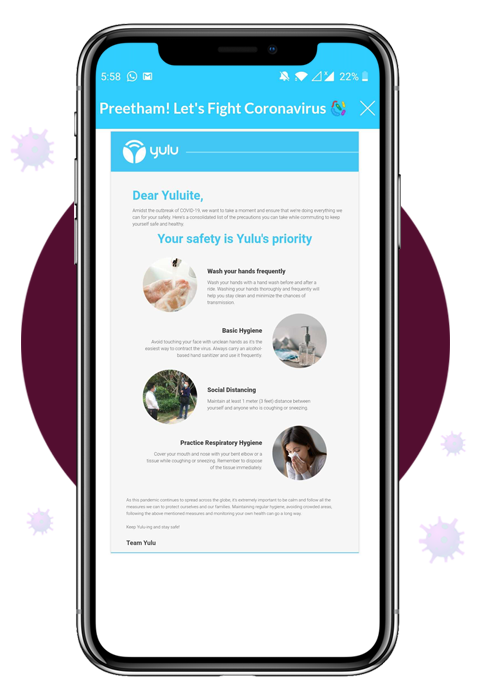 Safety protocol announcement sent by Yulu to its users